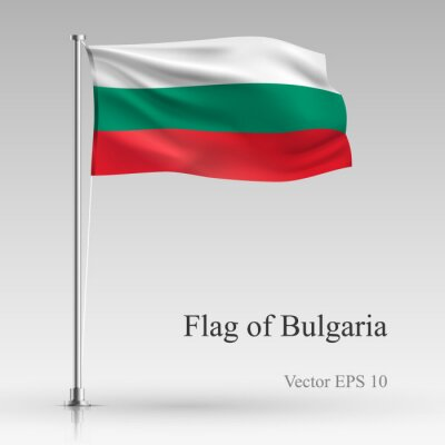 National flag of Bulgaria isolated on gray background. Realistic Bulgaria flag waving in the Wind. Wavy flag of Bulgaria Vector illustration.