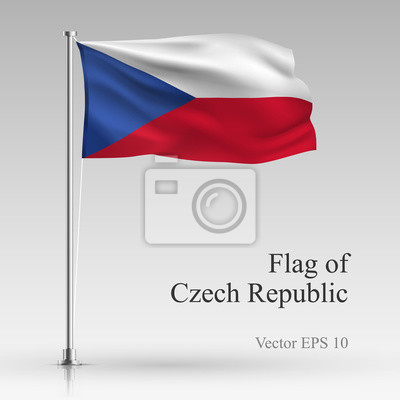 National flag of Czech Republic isolated on gray background. Realistic Czech Republic flag waving in the Wind. Wavy flag of Czech Republic Vector illustration.