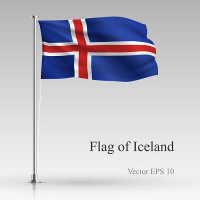 National flag of Iceland isolated on gray background. Realistic Iceland flag waving in the Wind. Wavy flag of Iceland Vector illustration.