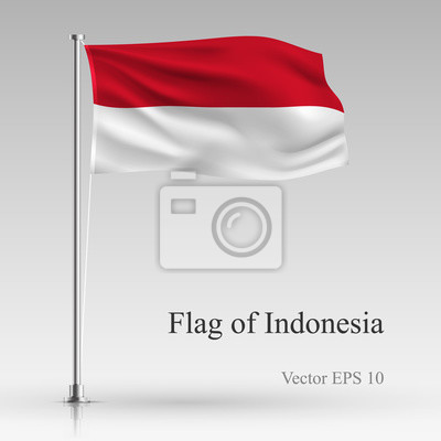 National flag of Indonesia isolated on gray background. Realistic Indonesia flag waving in the Wind. Wavy flag of Indonesia Vector illustration.