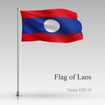 National flag of Laos isolated on gray background. Realistic Laos flag waving in the Wind. Wavy flag of Laos Vector illustration.