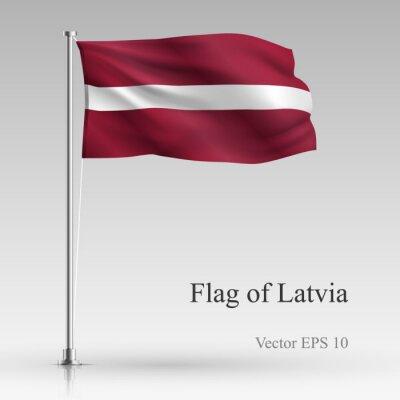 National flag of Latvia isolated on gray background. Realistic Latvia flag waving in the Wind. Wavy flag of Latvia Vector illustration.