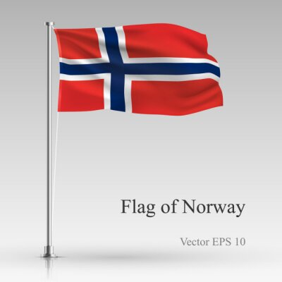 National flag of Norway isolated on gray background. Realistic Norway flag waving in the Wind. Wavy flag of Norway Vector illustration.