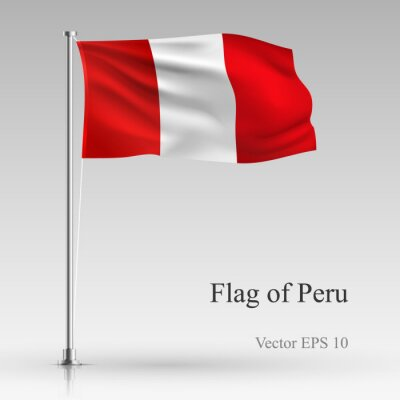 National flag of Peru isolated on gray background. Realistic Peru flag waving in the Wind. Wavy flag of Peru Vector illustration.