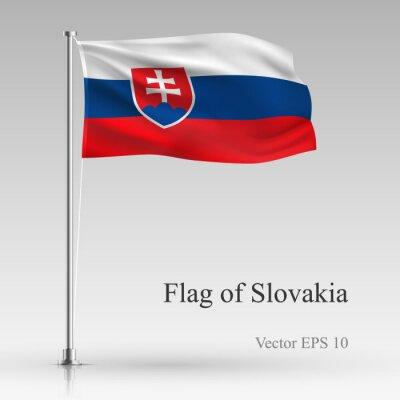 National flag of Slovakia isolated on gray background. Realistic Slovakia flag waving in the Wind. Wavy flag of Slovakia Vector illustration.