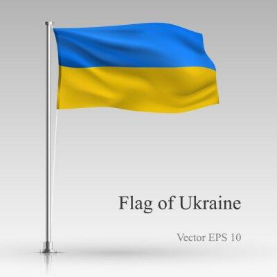 National flag of Ukraine isolated on gray background. Realistic Ukrainian flag waving in the Wind. Wavy flag of Ukraine Vector illustration.