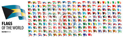 Sticker National flags of the countries. Vector illustration on white background