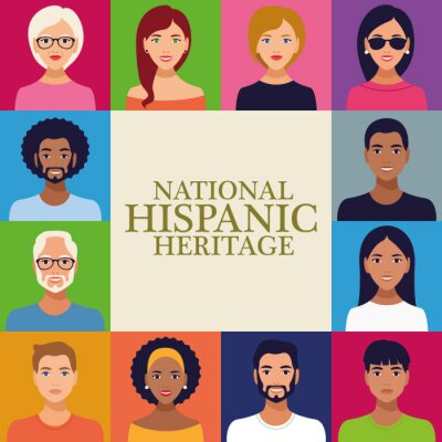 Sticker national hispanic heritage celebration lettering with group of people in square frame