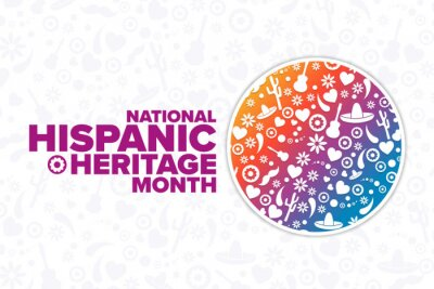 Sticker National Hispanic Heritage Month. Holiday concept. Template for background, banner, card, poster with text inscription. Vector EPS10 illustration.