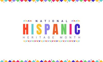 Sticker National Hispanic Heritage Month horizontal banner template with colorful text and flags on white background. Influence of Latin American heritage on a world culture