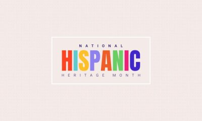 Sticker National Hispanic Heritage Month horizontal banner template with colorful text in a frame. Influence of Latin American heritage on a world culture