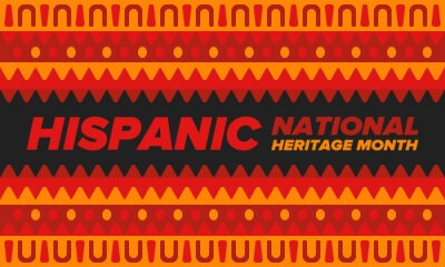 Sticker National Hispanic Heritage Month in September and October. Hispanic and Latino Americans culture. Celebrate annual in United States. Poster, card, banner and background. Vector illustration