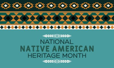 Sticker National Native American Heritage Month is an annual designation observed in November. Poster, card, banner, background design.