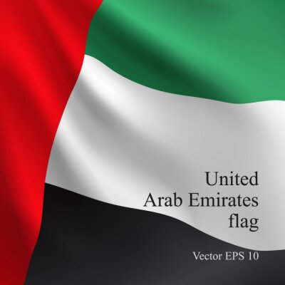 National United Arab Emirates flag waving in the Wind. Realistic Vector background.