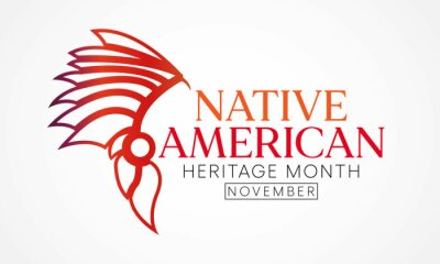 Sticker Native American heritage month is observed every year in November, to recognize the achievements and contributions of Native Americans. Vector illustration