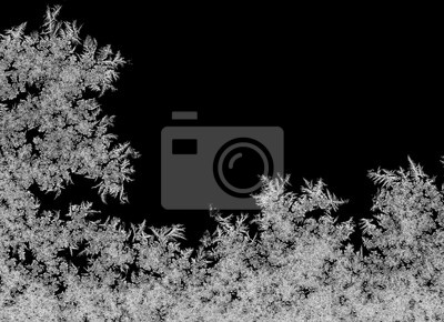 Sticker Natural ice crystals frostwork on dark backround. Macro closeup.