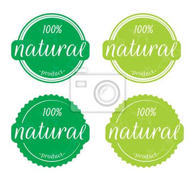 Natural label / sticker, Natural product 100% Illustration on white background, Wording Design