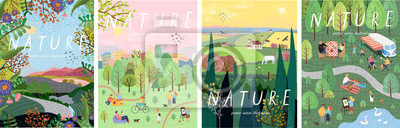 Sticker Nature. Cute vector illustration of landscape natural background, village, people on vacation in the park at a picnic, forest and trees. Drawings from the hand of summer and spring