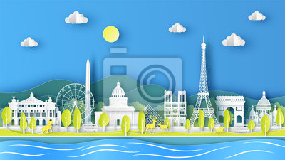 Nature landscape of Spring season with the world famous architecture in Paris city, France. paper cut and craft style. vector, illustration.