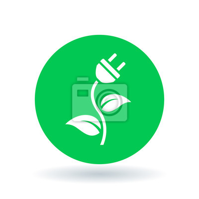 Natürliche grüne öko-energie-symbol mit elektrischen stecker ...