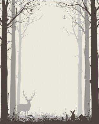 Sticker Natürlichen Hintergrund mit Silhouetten von Bäumen und Tieren