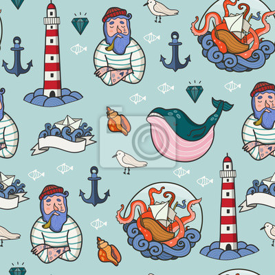 Nautical elements. Hand drawn colored vector seamless pattern. Blue background