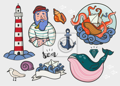 Nautical elements. Hand drawn colored vector set. All elements are isolated