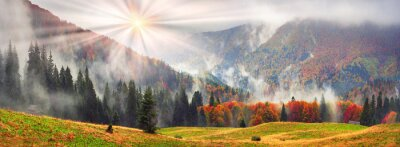 Sticker Nebelhafter Herbst Transkarpatien