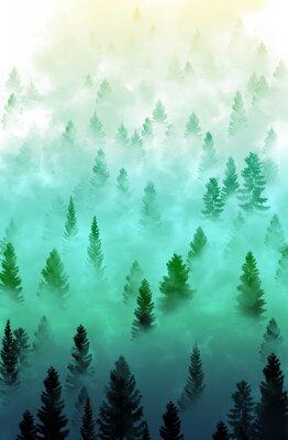 Sticker Nebligen Wald Landschaft