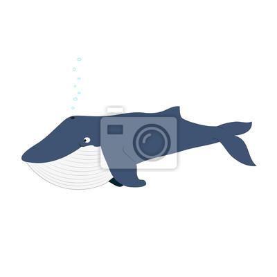 Nette blaue Wal Vektor-Illustration isoliert auf weiß