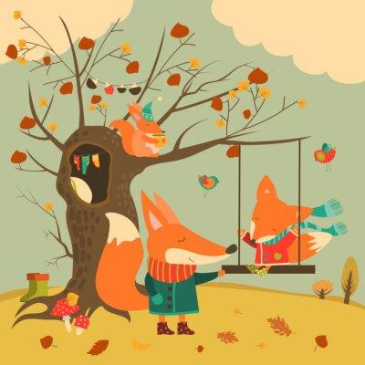 Sticker Nette Füchse Fahrt auf einer Schaukel im Herbst Wald