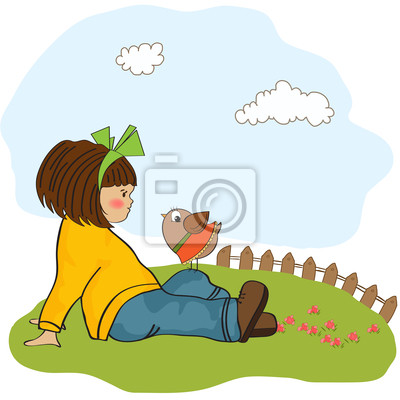 nette junge Mädchen im Gespräch mit kleinen Vogel
