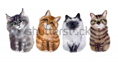 Sticker Nette lustige Katzen des Aquarells auf dem weißen Hintergrund