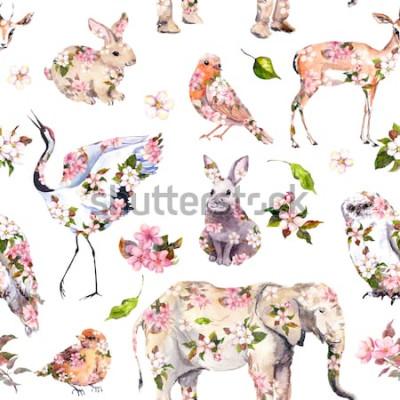 Sticker Nette Tiere in den rosa Frühlingsblumen. Nahtlose Blümchenmuster. Weibliches, mädchenhaftes Aquarell
