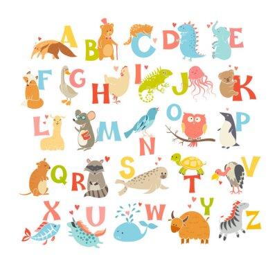 Sticker Nette Vektor-Zoo-Alphabet. Lustige Karikaturtiere. Vektor-Illustration EPS10 isoliert auf weißem Hintergrund. Briefe. Lesen lernen