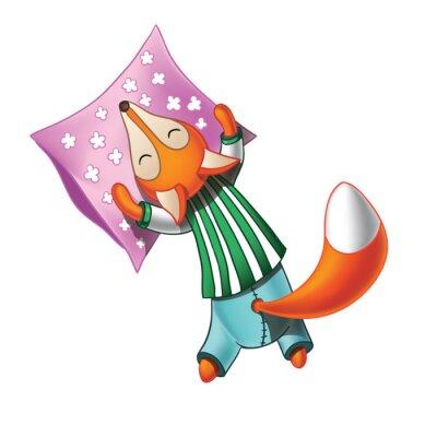 Sticker Netter Karikaturfuchs im Schlafanzug schläft