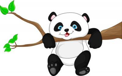 Sticker Netter lustiger Babypanda, der am Baum hängt