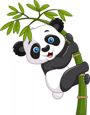 Sticker Netter lustiger Babypanda, der auf einem Bambusbaum hängt