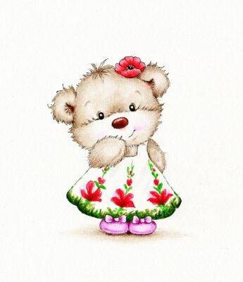Sticker Netter Teddybär Mädchen