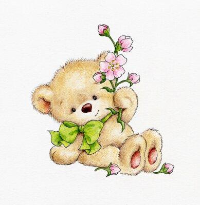 Sticker Netter Teddybär mit Blumen