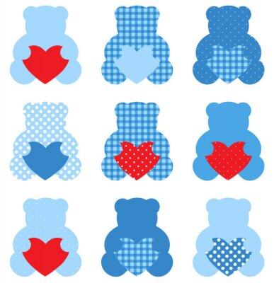 Sticker Netter Teddybär mit Herz gesetzt isoliert auf weiß (blau und rot)