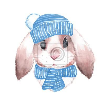 Nettes Kaninchen im blauen Hut. Aquarellabbildung. Isoliert auf weißem Hintergrund