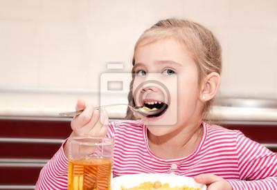 Sticker Nettes kleines Mädchen mit Frühstück Müsli mit Milch