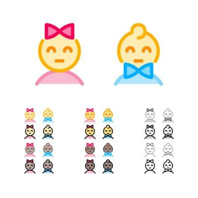 Nettes Mädchen mit Bogen und Junge mit modernen Entwurfsikonen bowtie in den verschiedenen Farben. Mann und Frau Geschlecht Zeichen. Lustige Kinder emoji. Weibliche und männliche Geschlechtsikonen.