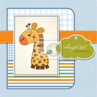 neues Baby Ankündigung Karte mit Giraffe