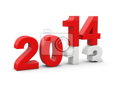 Sticker Neues Jahr 2014 3d render