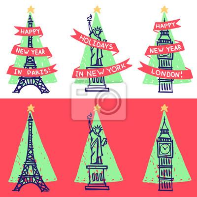 Neujahrsgrußkarten. Berühmte Wahrzeichen - Eiffelturm, Freiheitsstatue, Big Ben - mit Weihnachtsbaum Dreieck Silhouette auf dem Hintergrund.