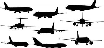 Sticker neun Flugzeuge Silhouetten isoliert auf weiß