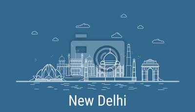 New Delhi city, Line Art Vector illustration with all famous buildings. Linear Banner with Showplace. Composition of Modern cityscape. New Delhi buildings set.