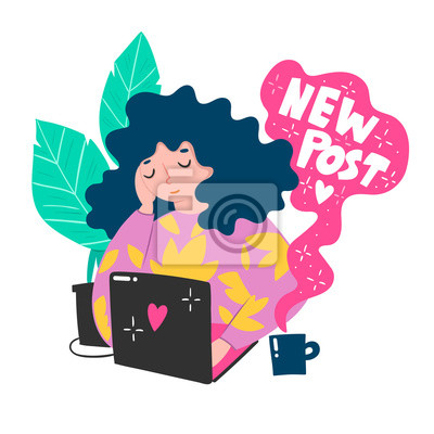 New post. Cute blogger girl. Colored vector illustration